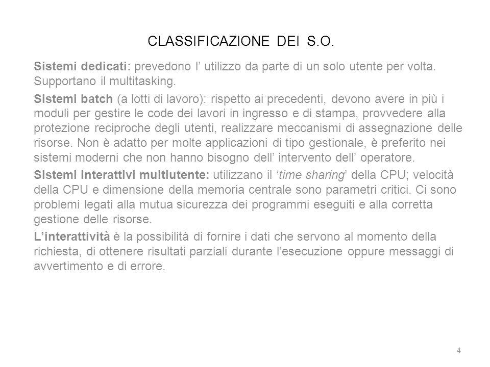 CLASSIFICAZIONE DEI S.O. Sistemi dedicati: prevedono l utilizzo da parte di un solo utente per volta. Supportano il multitasking. Sistemi batch (a lot