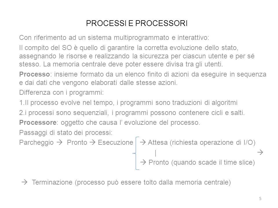 PROCESSI E PROCESSORI Con riferimento ad un sistema multiprogrammato e interattivo: Il compito del SO è quello di garantire la corretta evoluzione del