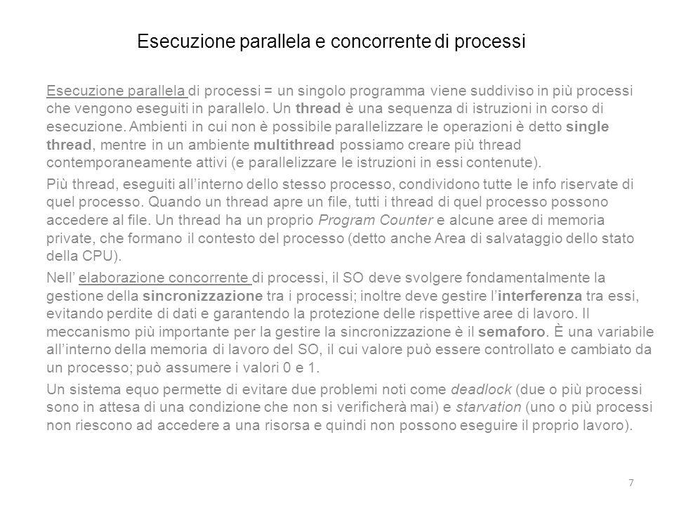 Esecuzione parallela e concorrente di processi Esecuzione parallela di processi = un singolo programma viene suddiviso in più processi che vengono ese