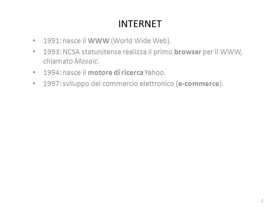 INTERNET: definizioni Host : computer individuato all interno della rete.