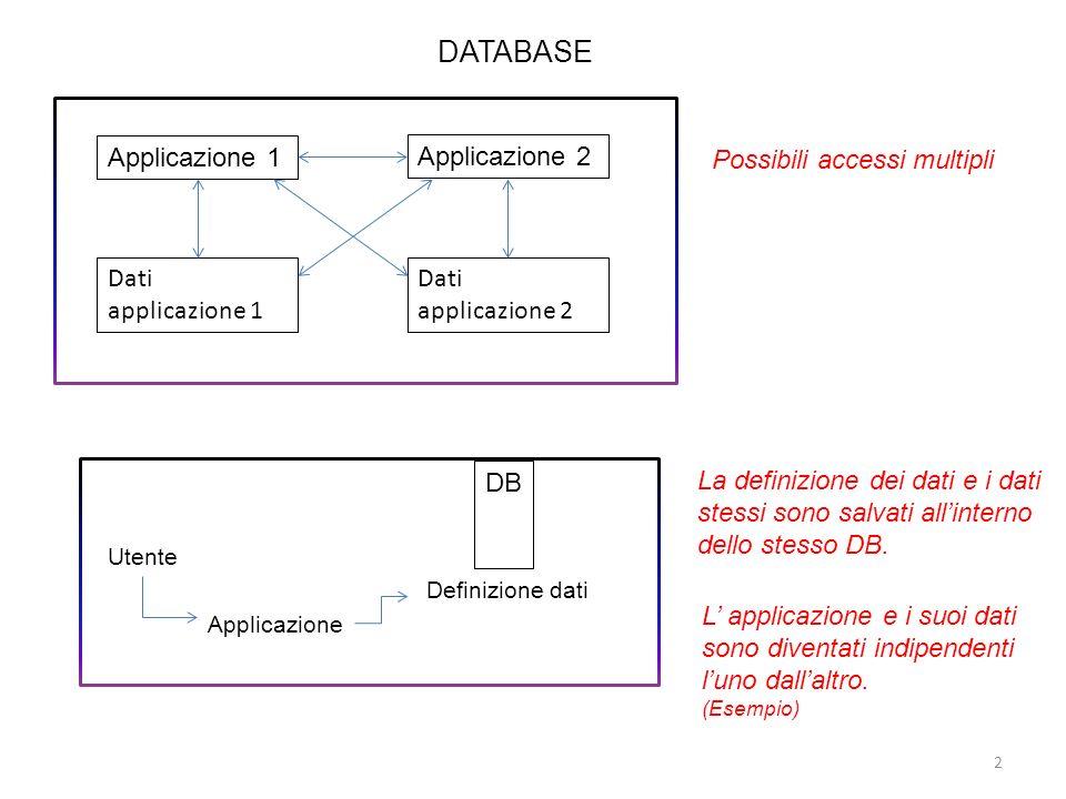 DATABASE Possibili accessi multipli La definizione dei dati e i dati stessi sono salvati allinterno dello stesso DB. L applicazione e i suoi dati sono