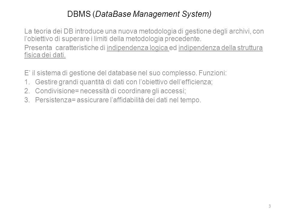DBMS (DataBase Management System) La teoria dei DB introduce una nuova metodologia di gestione degli archivi, con lobiettivo di superare i limiti dell