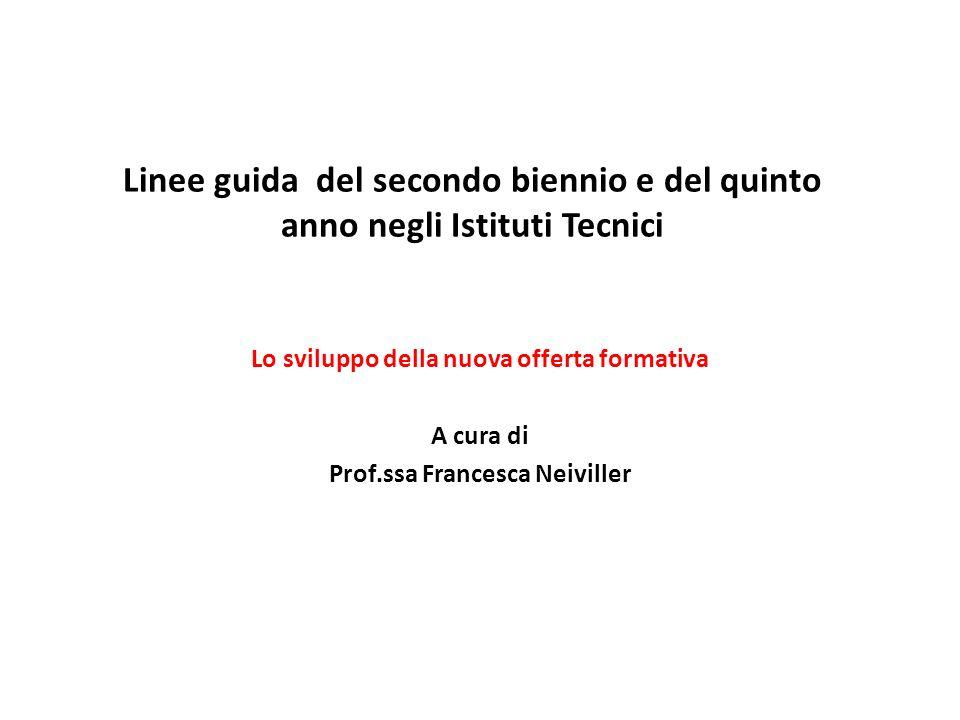 Linee guida del secondo biennio e del quinto anno negli Istituti Tecnici Lo sviluppo della nuova offerta formativa A cura di Prof.ssa Francesca Neivil