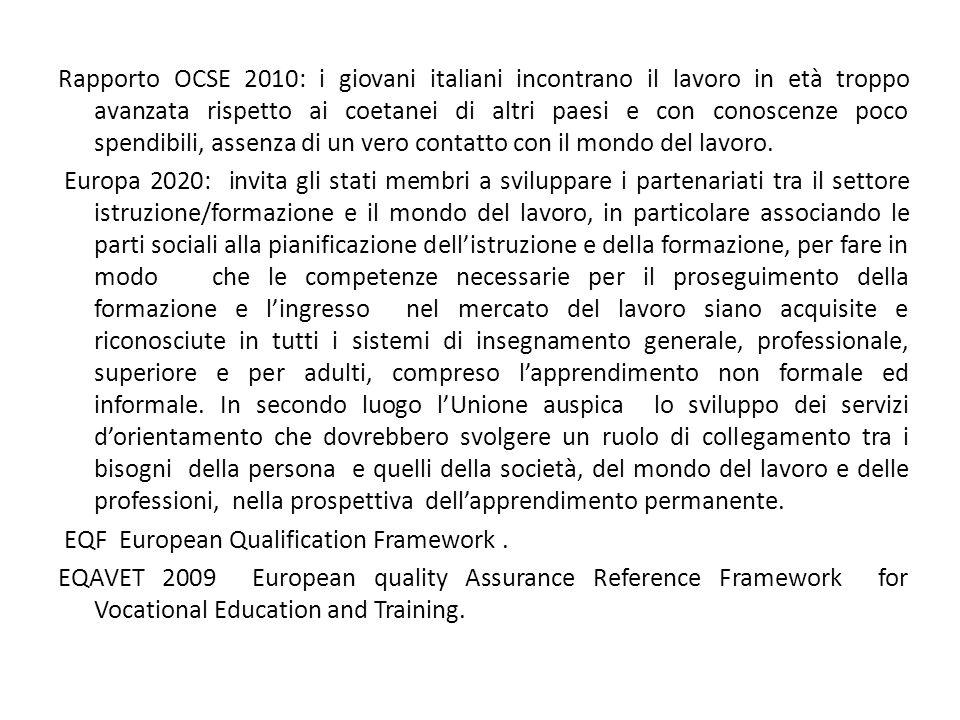 Rapporto OCSE 2010: i giovani italiani incontrano il lavoro in età troppo avanzata rispetto ai coetanei di altri paesi e con conoscenze poco spendibil