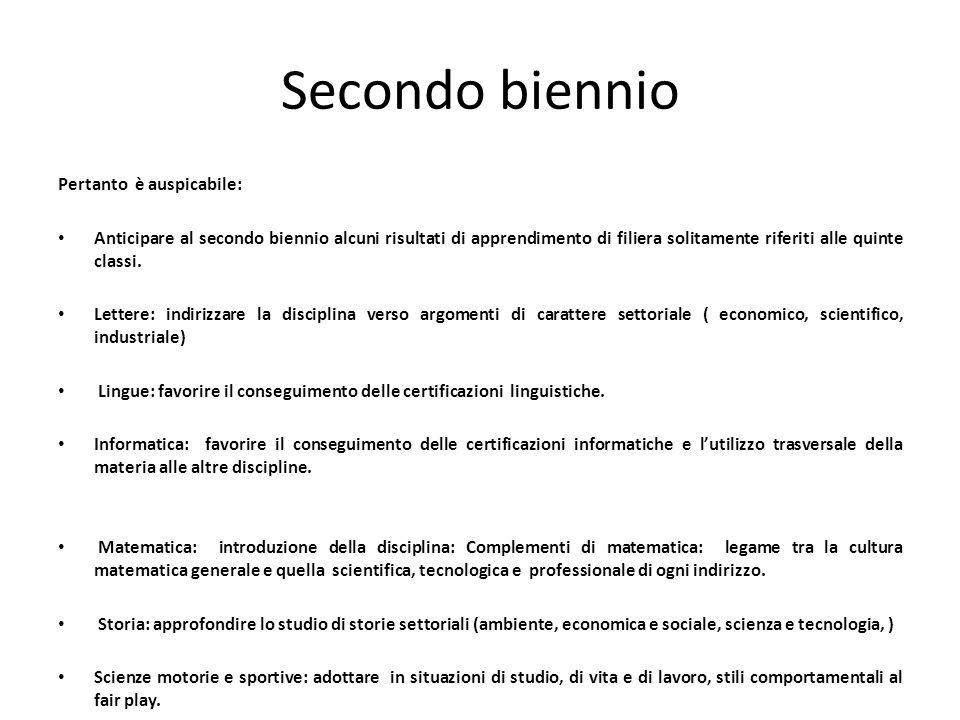 Secondo biennio Pertanto è auspicabile: Anticipare al secondo biennio alcuni risultati di apprendimento di filiera solitamente riferiti alle quinte cl