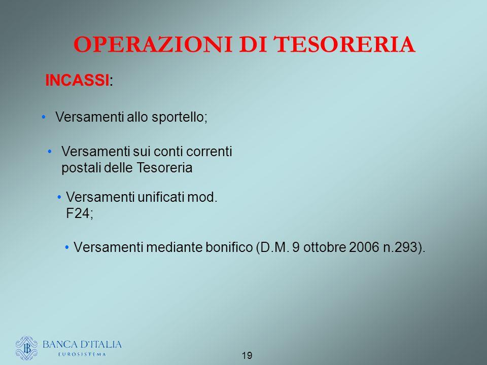 19 OPERAZIONI DI TESORERIA Versamenti mediante bonifico (D.M.