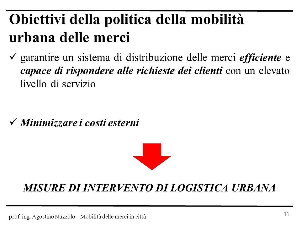 prof. ing. Agostino Nuzzolo – Mobilità delle merci in città Obiettivi della politica della mobilità urbana delle merci garantire un sistema di distrib