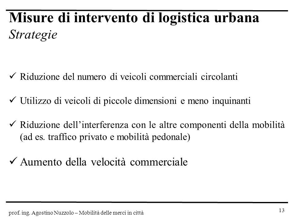 prof. ing. Agostino Nuzzolo – Mobilità delle merci in città Misure di intervento di logistica urbana Strategie Riduzione del numero di veicoli commerc