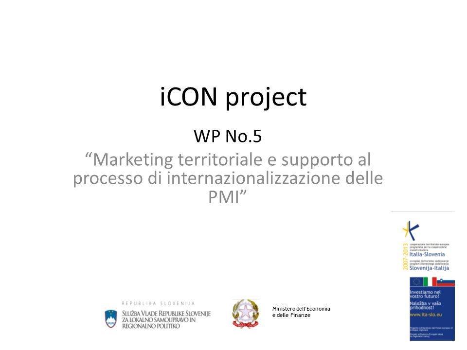 iCON project WP No.5 Marketing territoriale e supporto al processo di internazionalizzazione delle PMI Ministero dell Economia e delle Finanze
