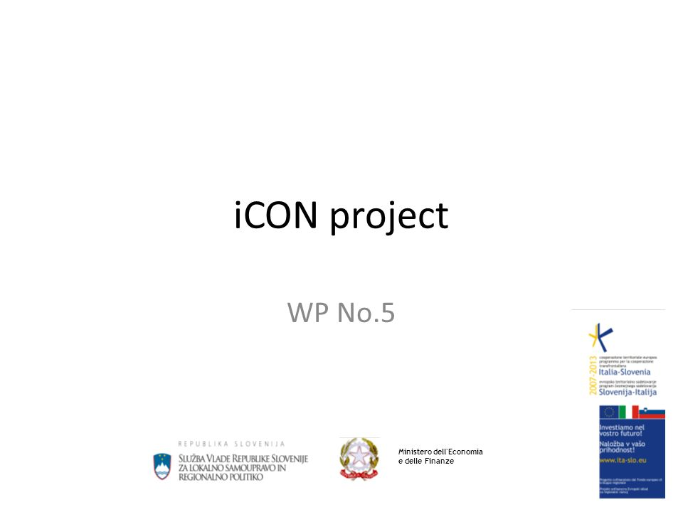 iCON project WP No.5 Ministero dell Economia e delle Finanze