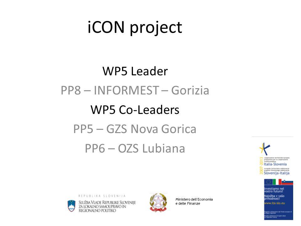 iCON project WP5 Leader PP8 – INFORMEST – Gorizia WP5 Co-Leaders PP5 – GZS Nova Gorica PP6 – OZS Lubiana Ministero dell Economia e delle Finanze