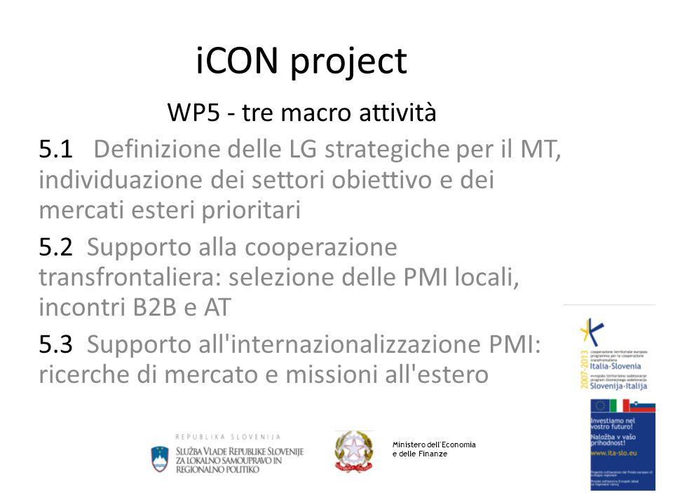 iCON project WP5 - tre macro attività 5.1 Definizione delle LG strategiche per il MT, individuazione dei settori obiettivo e dei mercati esteri prioritari 5.2 Supporto alla cooperazione transfrontaliera: selezione delle PMI locali, incontri B2B e AT 5.3 Supporto all internazionalizzazione PMI: ricerche di mercato e missioni all estero Ministero dell Economia e delle Finanze