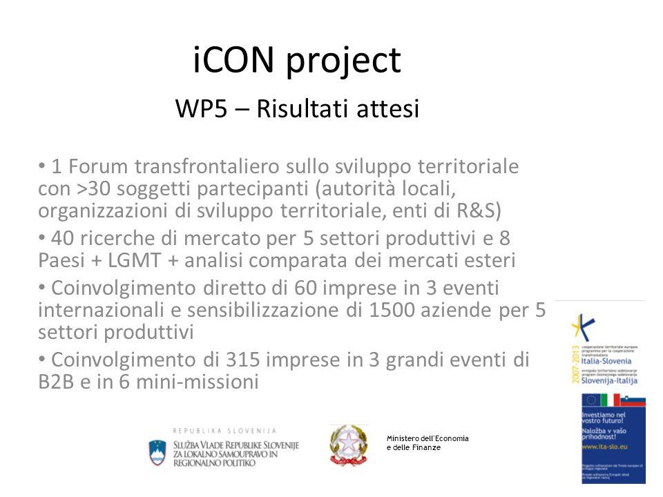 iCON project WP5 – Contributo dei partner PP5 - 7 ricerche di mercato - organizzazione di 3 meeting B2B + 1 missione PP6 - 8 ricerche di mercato - organizzazione di 3 meeting B2B + 1 missione Ministero dell Economia e delle Finanze