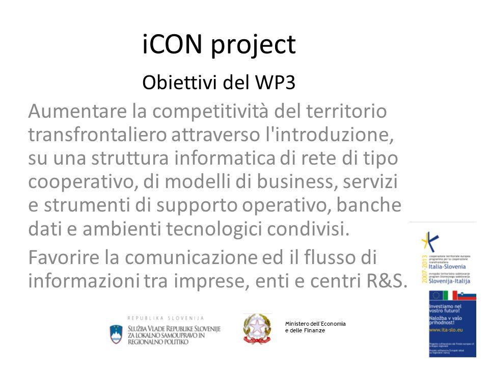 iCON project Obiettivi del WP3 Aumentare la competitività del territorio transfrontaliero attraverso l introduzione, su una struttura informatica di rete di tipo cooperativo, di modelli di business, servizi e strumenti di supporto operativo, banche dati e ambienti tecnologici condivisi.