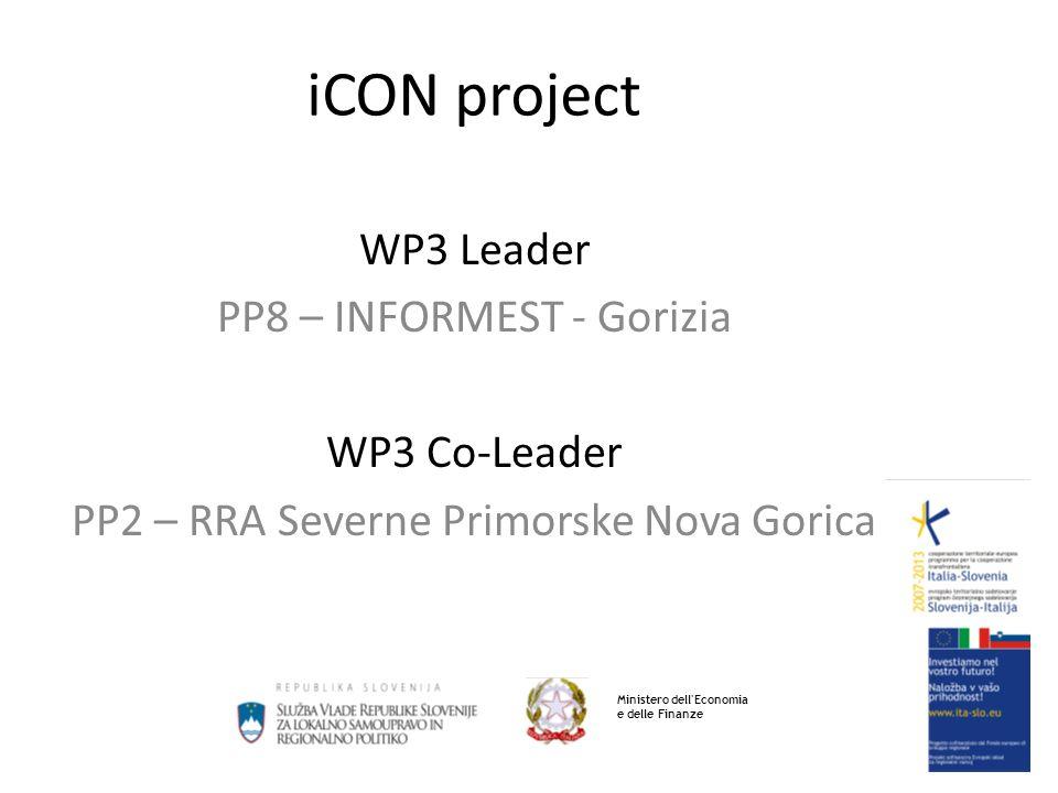 iCON project WP3 Leader PP8 – INFORMEST - Gorizia WP3 Co-Leader PP2 – RRA Severne Primorske Nova Gorica Ministero dell Economia e delle Finanze