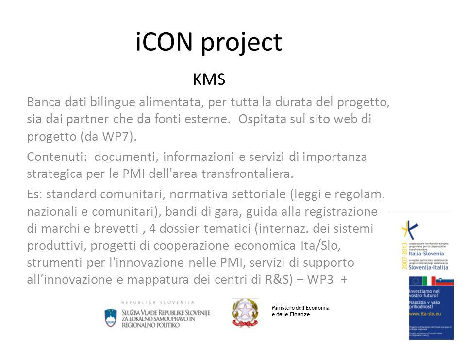 iCON project KMS Banca dati bilingue alimentata, per tutta la durata del progetto, sia dai partner che da fonti esterne.
