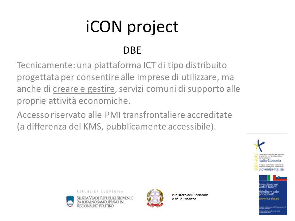 iCON project DBE Tecnicamente: una piattaforma ICT di tipo distribuito progettata per consentire alle imprese di utilizzare, ma anche di creare e gestire, servizi comuni di supporto alle proprie attività economiche.