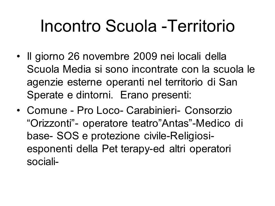 Incontro Scuola -Territorio Il giorno 26 novembre 2009 nei locali della Scuola Media si sono incontrate con la scuola le agenzie esterne operanti nel territorio di San Sperate e dintorni.