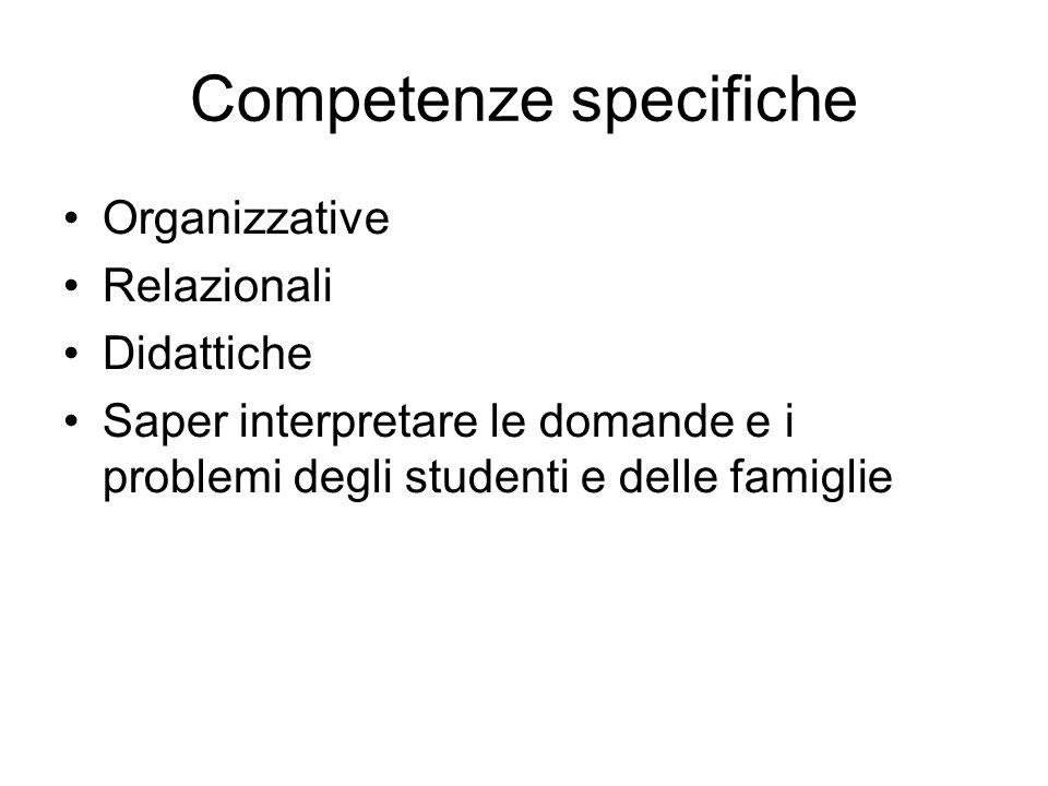 Competenze specifiche Organizzative Relazionali Didattiche Saper interpretare le domande e i problemi degli studenti e delle famiglie