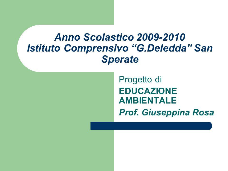 Anno Scolastico 2009-2010 Istituto Comprensivo G.Deledda San Sperate Progetto di EDUCAZIONE AMBIENTALE Prof. Giuseppina Rosa