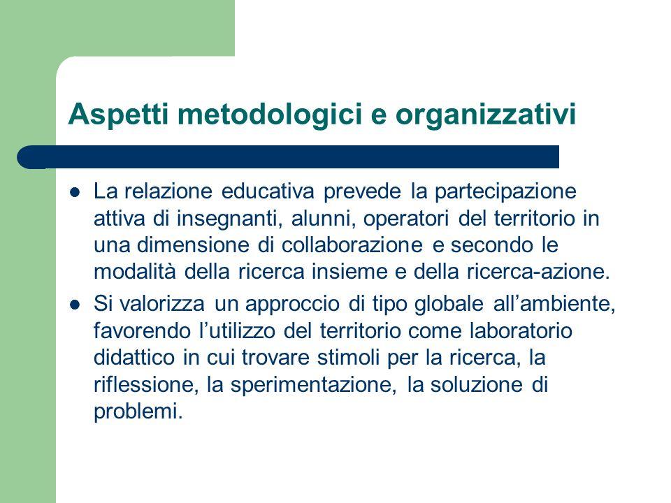 Aspetti metodologici e organizzativi La relazione educativa prevede la partecipazione attiva di insegnanti, alunni, operatori del territorio in una di