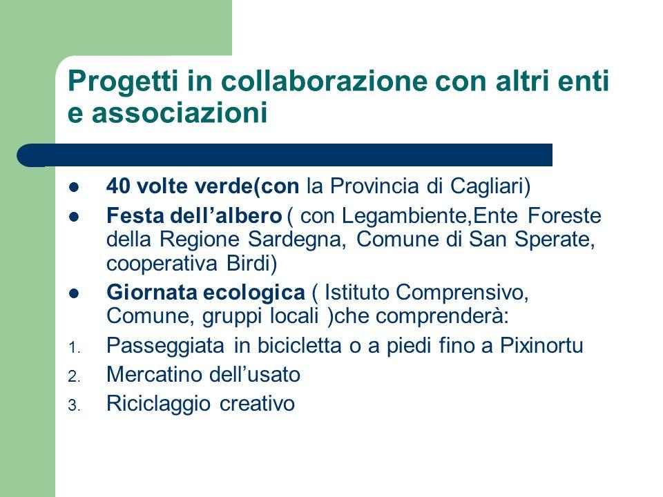 Progetti in collaborazione con altri enti e associazioni 40 volte verde(con la Provincia di Cagliari) Festa dellalbero ( con Legambiente,Ente Foreste