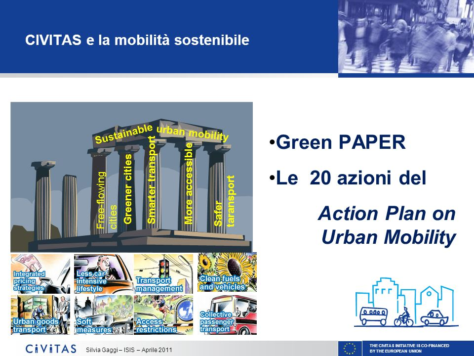 THE CIVITAS INITIATIVE IS CO-FINANCED BY THE EUROPEAN UNION Silvia Gaggi – ISIS – Aprile 2011 CIVITAS e la mobilità sostenibile Free-flowing cities Gr