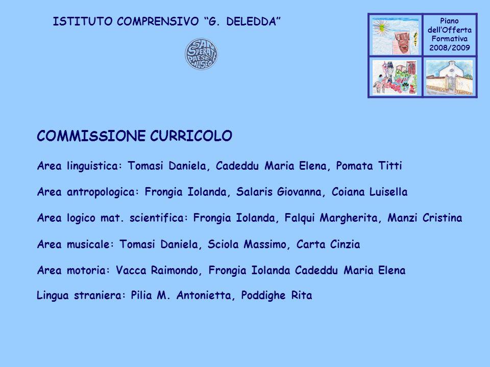 Coppo M. A. Piano dellOfferta Formativa 2008/2009 Coppo M. A. ISTITUTO COMPRENSIVO G. DELEDDA COMMISSIONE CURRICOLO Area linguistica: Tomasi Daniela,
