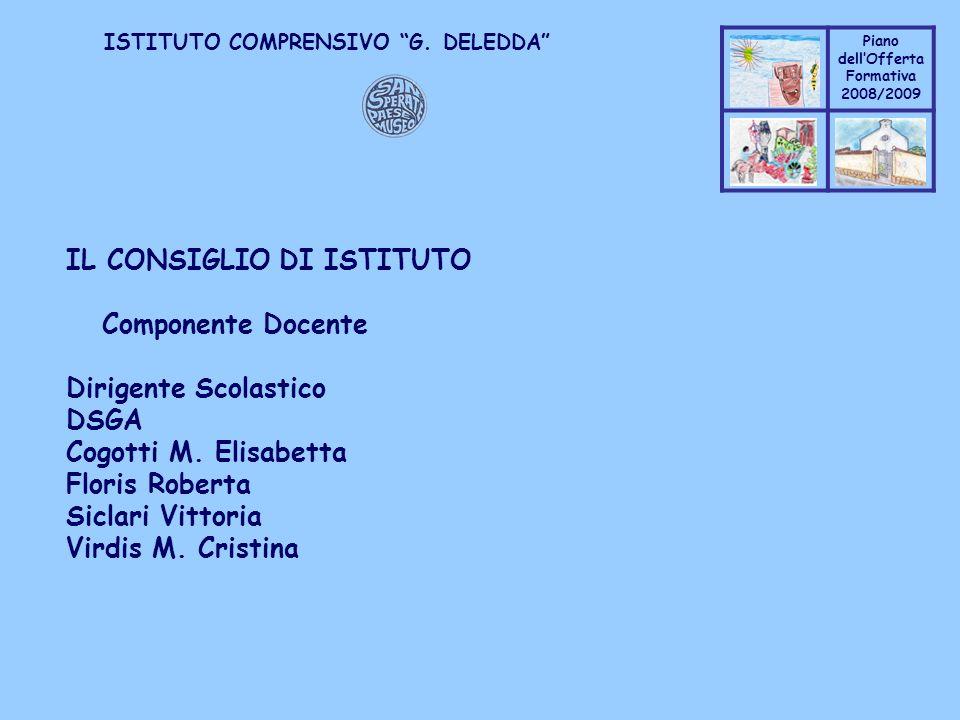 Coppo M. A. Piano dellOfferta Formativa 2008/2009 Coppo M. A. ISTITUTO COMPRENSIVO G. DELEDDA IL CONSIGLIO DI ISTITUTO Componente Docente Dirigente Sc