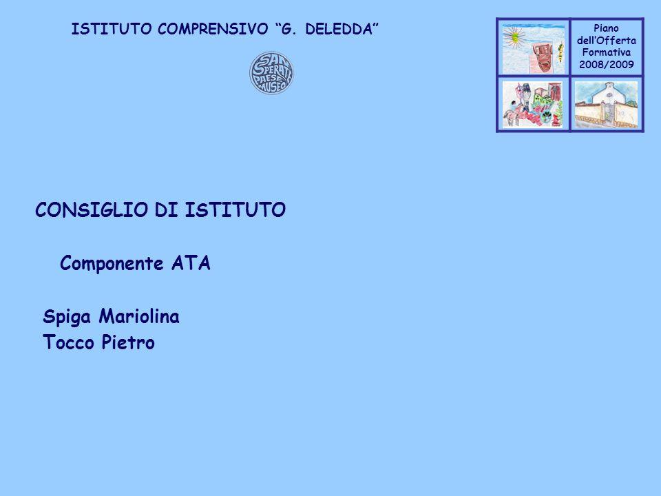 Coppo M. A. Piano dellOfferta Formativa 2008/2009 Coppo M. A. ISTITUTO COMPRENSIVO G. DELEDDA CONSIGLIO DI ISTITUTO Componente ATA Spiga Mariolina Toc
