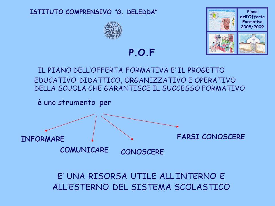 Coppo M. A. Piano dellOfferta Formativa 2008/2009 Coppo M. A. ISTITUTO COMPRENSIVO G. DELEDDA P.O.F IL PIANO DELLOFFERTA FORMATIVA E IL PROGETTO EDUCA