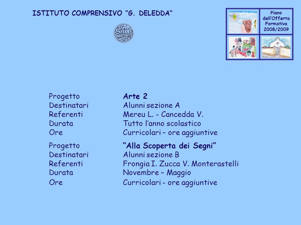 Coppo M. A. Piano dellOfferta Formativa 2008/2009 Coppo M. A. ISTITUTO COMPRENSIVO G. DELEDDA ProgettoArte 2 DestinatariAlunni sezione A ReferentiMere