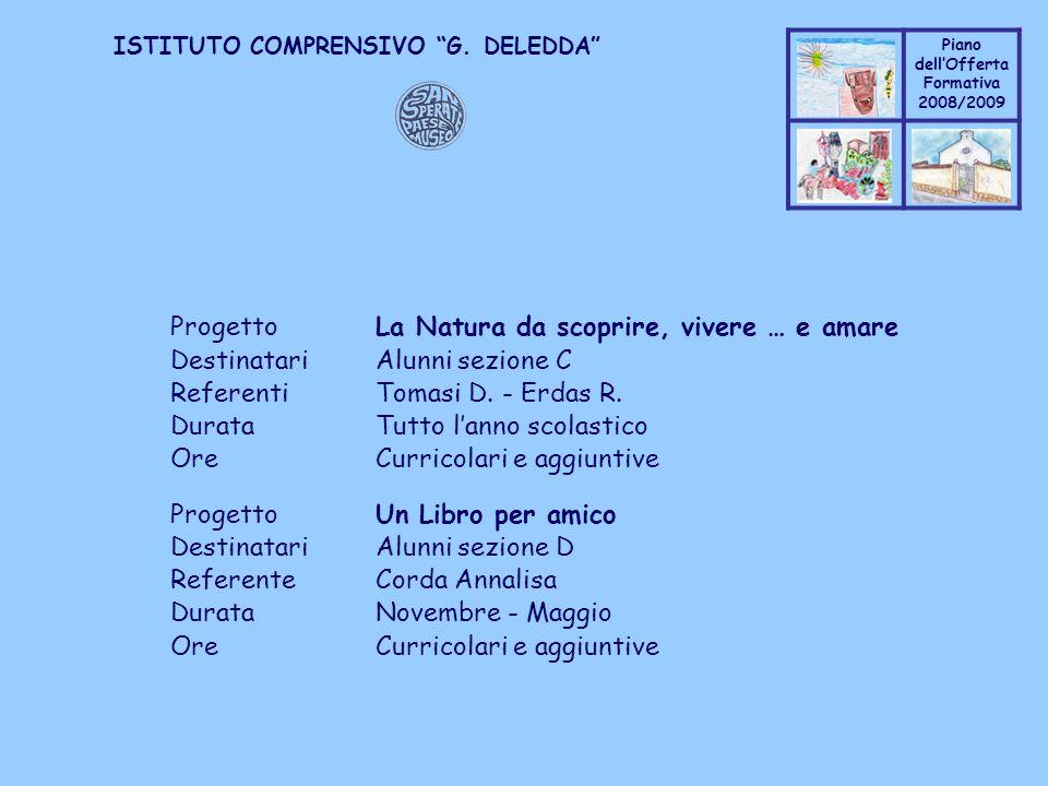 Coppo M. A. Piano dellOfferta Formativa 2008/2009 Coppo M. A. ISTITUTO COMPRENSIVO G. DELEDDA ProgettoLa Natura da scoprire, vivere … e amare Destinat