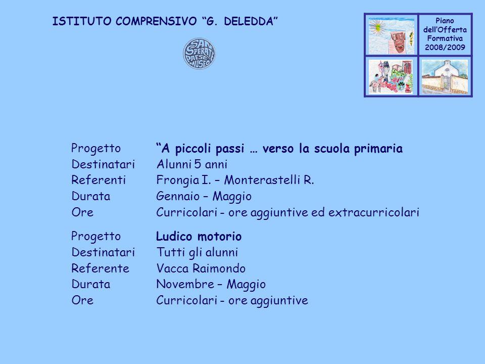 Coppo M. A. Piano dellOfferta Formativa 2008/2009 Coppo M. A. ISTITUTO COMPRENSIVO G. DELEDDA ProgettoA piccoli passi … verso la scuola primaria Desti