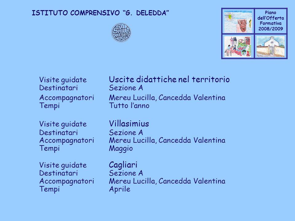 Coppo M. A. Piano dellOfferta Formativa 2008/2009 Coppo M. A. ISTITUTO COMPRENSIVO G. DELEDDA Visite guidate Uscite didattiche nel territorio Destinat