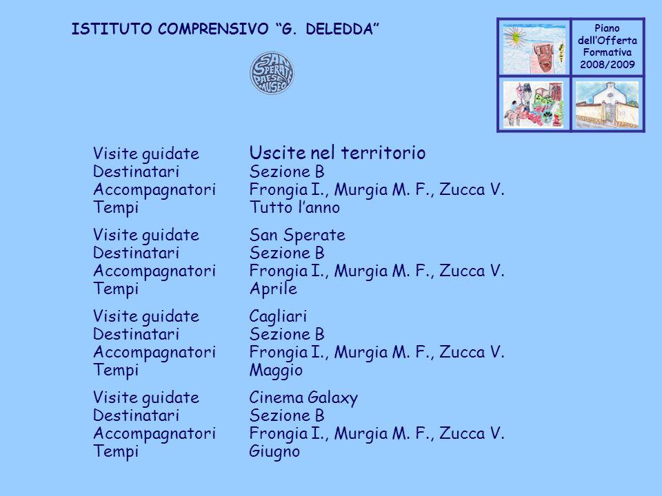 Coppo M. A. Piano dellOfferta Formativa 2008/2009 Coppo M. A. ISTITUTO COMPRENSIVO G. DELEDDA Visite guidate Uscite nel territorio DestinatariSezione