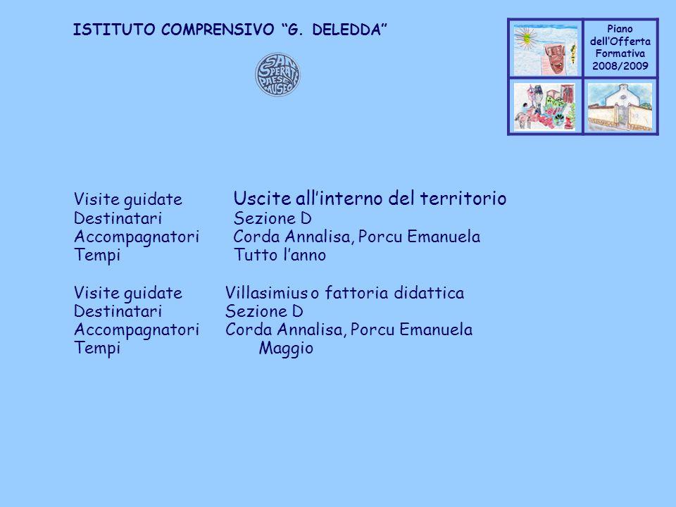 Coppo M. A. Piano dellOfferta Formativa 2008/2009 Coppo M. A. ISTITUTO COMPRENSIVO G. DELEDDA Visite guidate Uscite allinterno del territorio Destinat