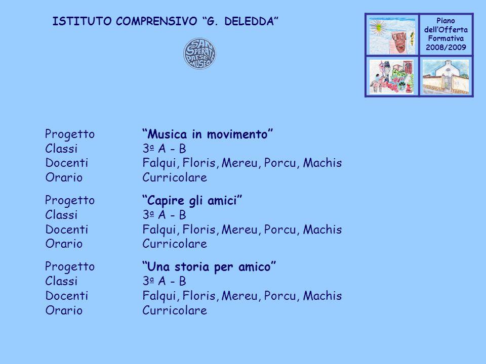 Coppo M. A. Piano dellOfferta Formativa 2008/2009 Coppo M. A. ISTITUTO COMPRENSIVO G. DELEDDA ProgettoMusica in movimento Classi3 a A - B DocentiFalqu