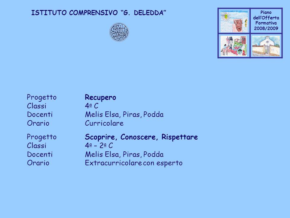 Coppo M. A. Piano dellOfferta Formativa 2008/2009 Coppo M. A. ISTITUTO COMPRENSIVO G. DELEDDA ProgettoRecupero Classi4 a C DocentiMelis Elsa, Piras, P