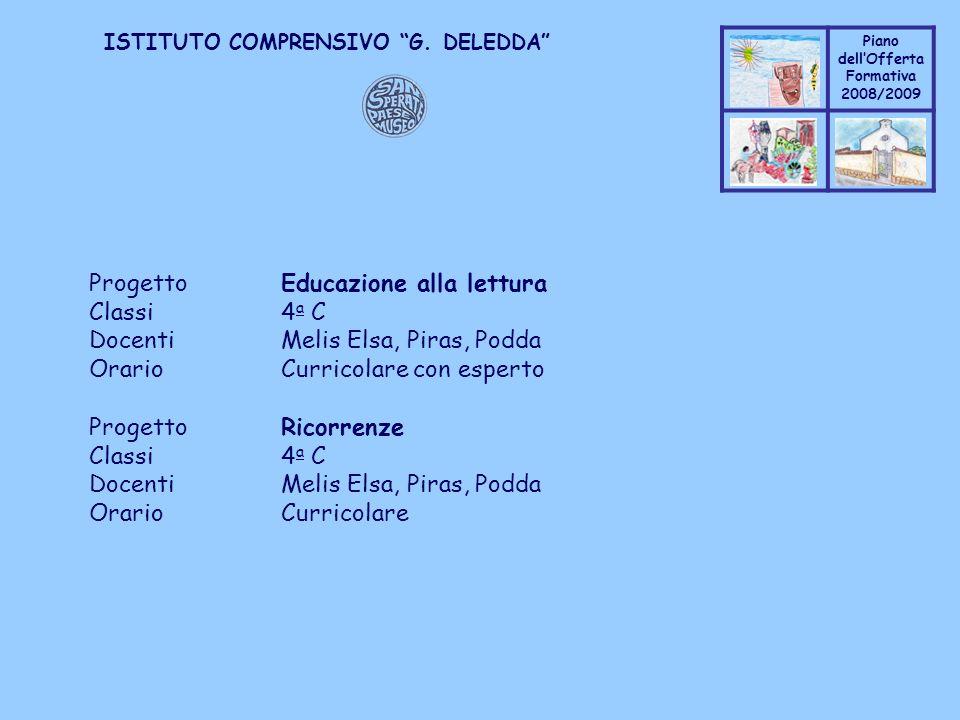 Coppo M. A. Piano dellOfferta Formativa 2008/2009 Coppo M. A. ISTITUTO COMPRENSIVO G. DELEDDA ProgettoEducazione alla lettura Classi4 a C DocentiMelis