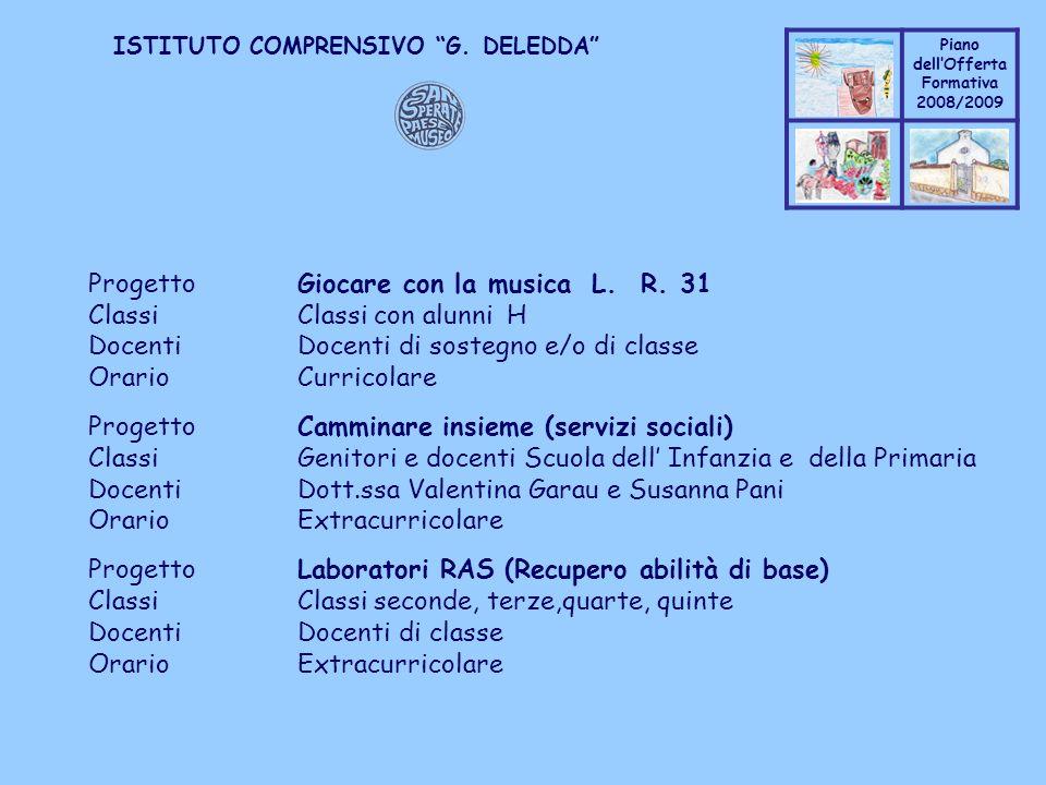 Coppo M. A. Piano dellOfferta Formativa 2008/2009 Coppo M. A. ISTITUTO COMPRENSIVO G. DELEDDA ProgettoGiocare con la musica L. R. 31 ClassiClassi con