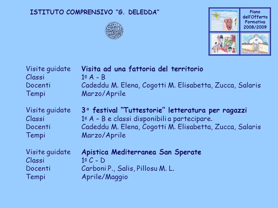 Coppo M. A. Piano dellOfferta Formativa 2008/2009 Coppo M. A. ISTITUTO COMPRENSIVO G. DELEDDA Visite guidateVisita ad una fattoria del territorio Clas