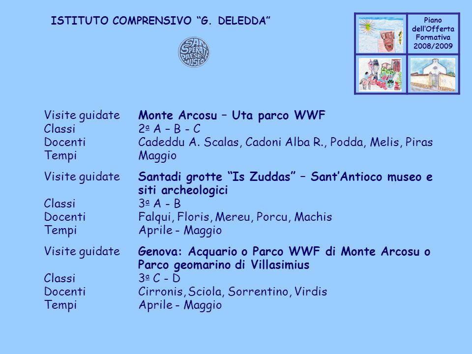 Coppo M. A. Piano dellOfferta Formativa 2008/2009 Coppo M. A. ISTITUTO COMPRENSIVO G. DELEDDA Visite guidateMonte Arcosu – Uta parco WWF Classi2 a A –