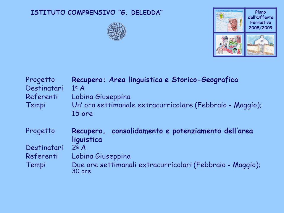 Coppo M. A. Piano dellOfferta Formativa 2008/2009 Coppo M. A. ISTITUTO COMPRENSIVO G. DELEDDA ProgettoRecupero: Area linguistica e Storico-Geografica