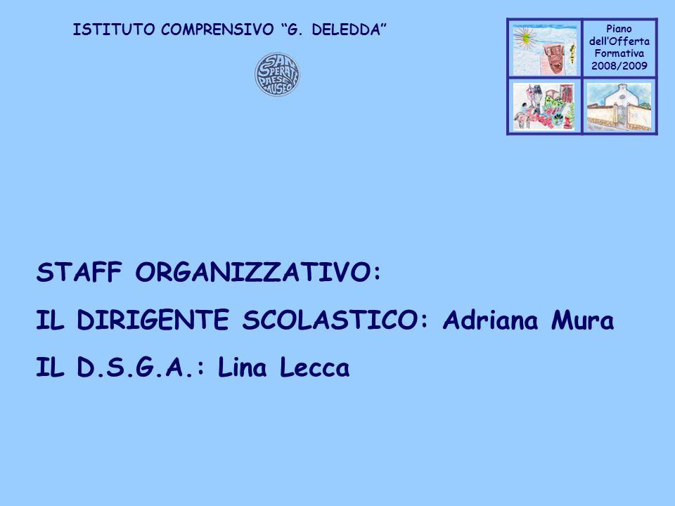 Coppo M. A. Piano dellOfferta Formativa 2008/2009 Coppo M. A. ISTITUTO COMPRENSIVO G. DELEDDA STAFF ORGANIZZATIVO: IL DIRIGENTE SCOLASTICO: Adriana Mu