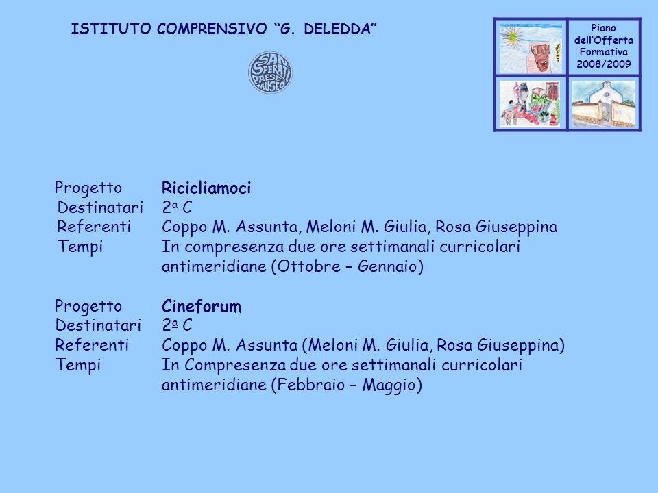 Coppo M. A. Piano dellOfferta Formativa 2008/2009 Coppo M. A. ISTITUTO COMPRENSIVO G. DELEDDA ProgettoRicicliamoci Destinatari2 a C ReferentiCoppo M.