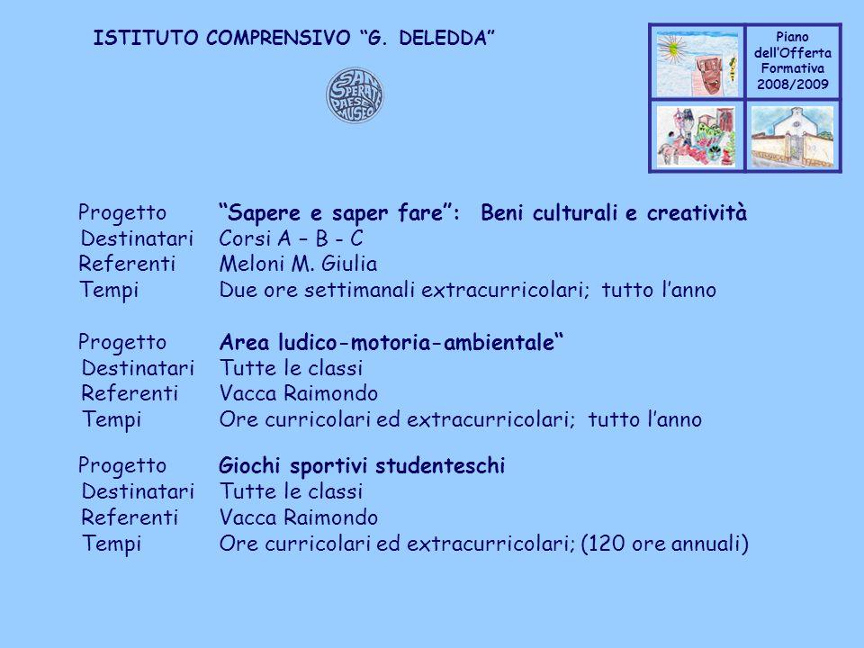 Coppo M. A. Piano dellOfferta Formativa 2008/2009 Coppo M. A. ISTITUTO COMPRENSIVO G. DELEDDA ProgettoSapere e saper fare: Beni culturali e creatività