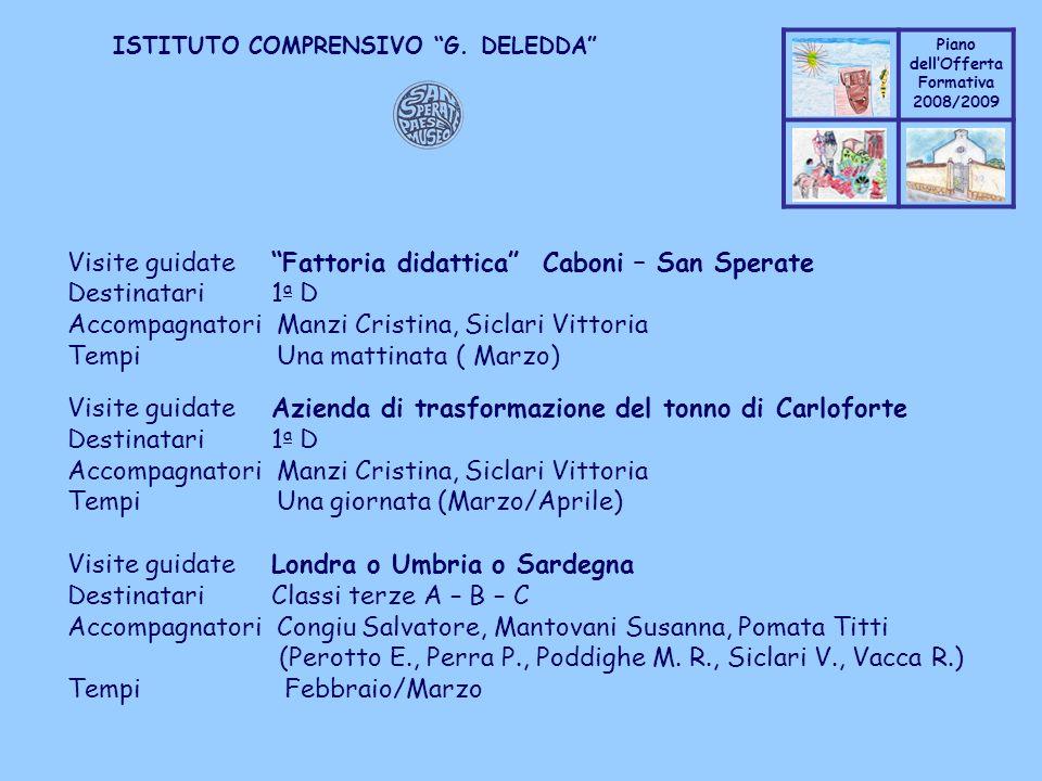 Coppo M. A. Piano dellOfferta Formativa 2008/2009 Coppo M. A. ISTITUTO COMPRENSIVO G. DELEDDA Visite guidate Fattoria didattica Caboni – San Sperate D