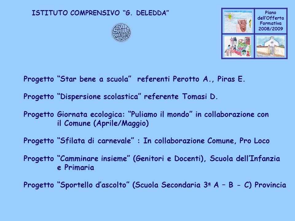 Coppo M. A. Piano dellOfferta Formativa 2008/2009 Coppo M. A. ISTITUTO COMPRENSIVO G. DELEDDA Progetto Star bene a scuola referenti Perotto A., Piras