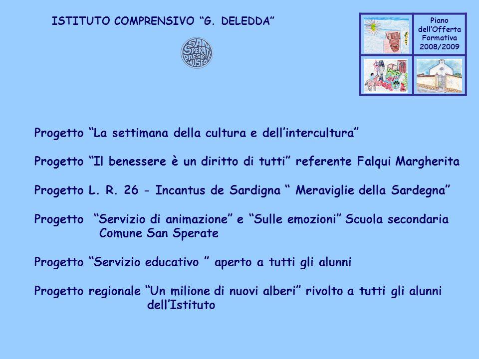 Coppo M. A. Piano dellOfferta Formativa 2008/2009 Coppo M. A. ISTITUTO COMPRENSIVO G. DELEDDA Progetto La settimana della cultura e dellintercultura P